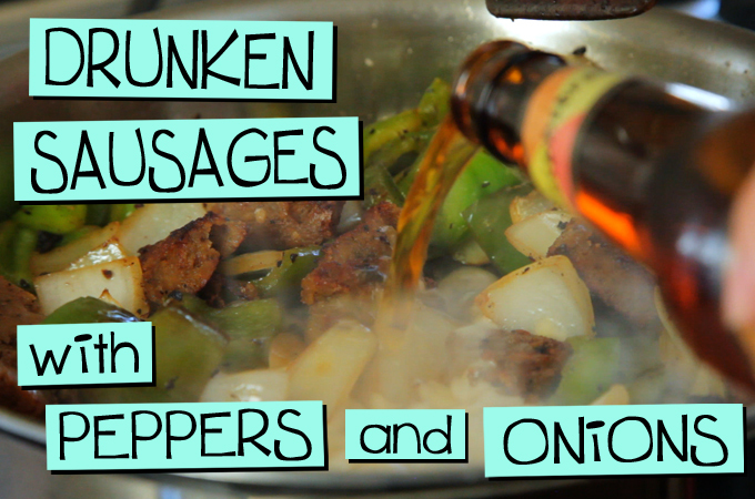 Drunken Sausages with Peppers and Onions